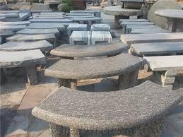 polished stone garden bench grey