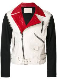 colour block biker jacket