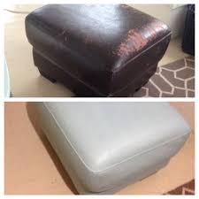 Annie Sloan chalk paint on a peeling faux leather ottoman Refurbish cheap,