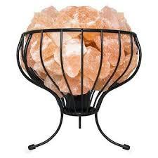 himalayan natural salt 7 5 in pink air purifying flower mesh basket lamp with salt chunks