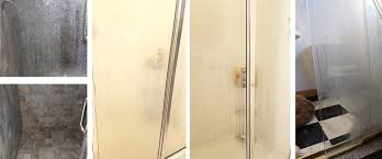 before and after cleaning glass shower door
