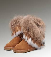 UGG Fox Fur Short Boots 8288 Chestnut Hot Sale