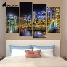 canvas painting 4 piece canvas art singapore city night hd printed home decor wall art poster