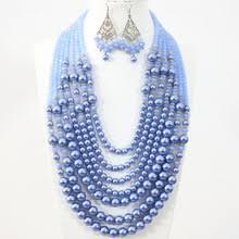 Bohemia style 7 rows <b>necklace</b> earrings light <b>blue</b> round shell ...