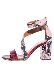 snake leather block heel in red pink paris texas