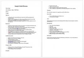 Modeling Resume For Beginners From Curriculum Vitae Format Download