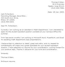 Cover Letters For College Students Sample Student Cover Letters