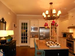 beige wall theme and white wooden kitchen cabinet added by black oak