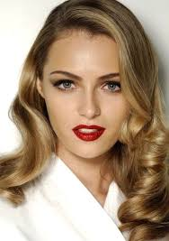 red lip and 40 s hair love the make up and hair for prom