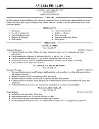 Unforgettable Assistant Restaurant Manager Resume Examples To