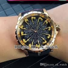 new excalibur 45 rddbex0511 knight of the round table iii men s automatic watch rose gold case black leather strap gents best sport watches