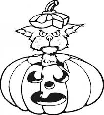 Small Picture Cat playing with a halloween pumpkin coloring pages Hellokidscom