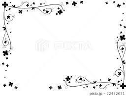 フレーム 花 モノクロのイラスト素材 22432071 Pixta