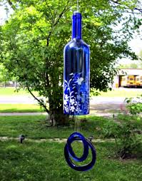 How To Make A Wind Chime Recycled Blue Wine Bottle Blowing In The Wind Pinterest