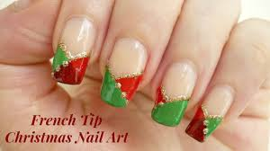 Easy French Tip Christmas Nail Art! - YouTube