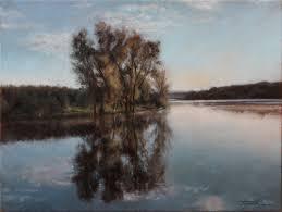 fine art a lake original oil painting on canvas by artist darko topalski