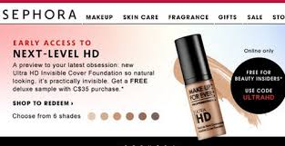 sephora free make up for ever ultra hd foundation sle promo code