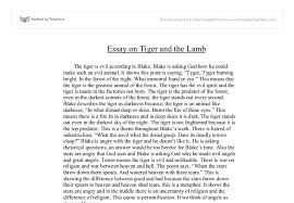 essay on tiger and the lamb gcse english marked by teachers com document image preview