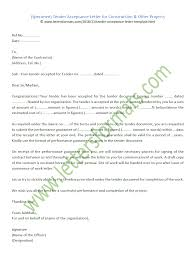 Tender Acceptance Letter For Construction Other Projects Templates