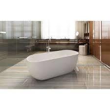 acrylic flatbottom non whirlpool bathtub with oval in white