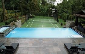 backyard infinity pools. Backyard Infinity Pool Overlooking Tennis Court Pools