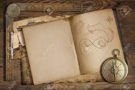 stock photo vine trere map in open book with p and old ruler