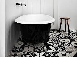 decorative black and white random bathroom floor tile