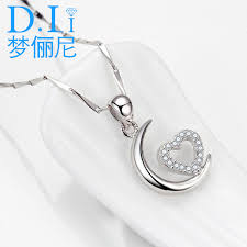 get ations meng li nigeria s925 silver moon heart pendant necklace female clavicle chain silver chain to send