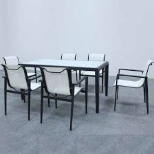 outdoor dining table set aluminum frame
