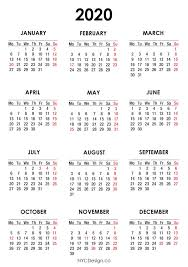 Printable Calendars 2020 With Holidays 2020 Calendar With Us Holidays Pdf Printable White