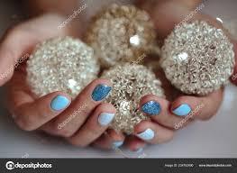 Nádhernou Manikúru Pastelově Modré Barvy Nehty Detailní Foto ženské