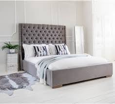 grey upholstered bed king. Studs And Buttons Grey Upholstered Bed King Size Furnish.co.uk
