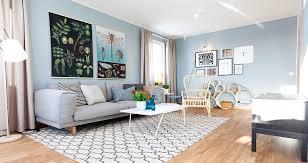 Pastel blue Scandinavian interior