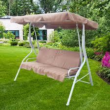 sentinel foxhunter brown garden metal swing hammock 3 seater chair bench outdoor fhsc01