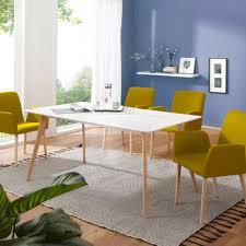 Esszimmertisch Mit 4 Stühlen Holz Weiß Esstisch Set 160cm Küchentisch Groß Retro
