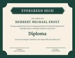printable diploma certificates blank certificates green bordered high school diploma certificate pdf