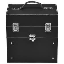 ghp 9 x6 3 x9 black 18 parment nail makeup case organizer with slide out drawer