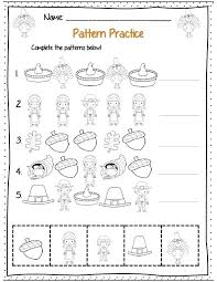 Thanksgiving Cut And Paste Pattern Worksheet 2 Free Printable Math ...