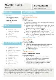 Chartered Accountant Resumes Latest Chartered Accountant Resume Sample Doc With
