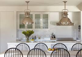 gorgeous kitchen with ralph lauren home montauk pendants over kitchen island with white quartz countertops