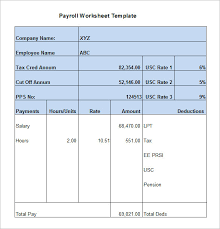 payroll sample 5 payroll worksheet templates free excel documents download