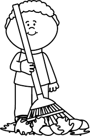 rake clipart black and white. Brilliant Black Black And White Boy Raking Autumng Leaves Throughout Rake Clipart And A
