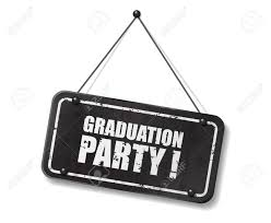 Vintage Old Black Sign With Graduation Party Text Vector