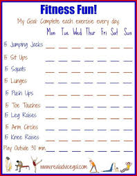 Printable Fitness Chart Free Fun Fitness Printable That You Can Use As Guide For