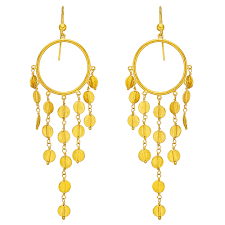 stalactite long fringe dangle chandelier earrings in 22k yellow gold designed with an open circular element at top suspending six graduating drop