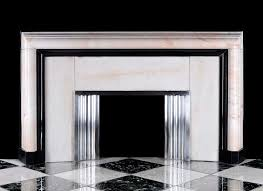 large white and black marble art deco fireplace the lightly veined and figured ivory white surround bordered on the inside with belgian black marble with