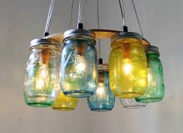 Decorating Ideas For Glass Jars Funny Multicolored Glass Bottle Hanging Mason Jar With Small Lamp 55