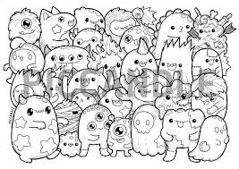 Monsters Doodle Coloring Page Printable Cutekawaii Coloring Page
