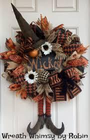 Halloween Burlap \u0026 Mesh Rustic Witch Wreath with Primitive Boots ...