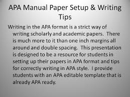 Apa Setup Writing In The Apa Style Ppt Download